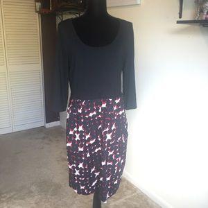 DKNY Red Black Long Sleeve Dot Print Dress